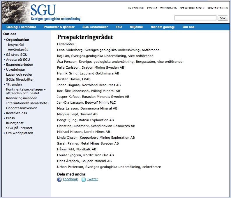 SGUs ledamöter i prospekteringsrådet
